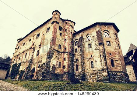 Old castle in Banska Stiavnica Slovak republic. Cultural heritage. Architectural theme. Unesco. Travel destination. Retro photo filter. Beautiful place. Ancient architecture.