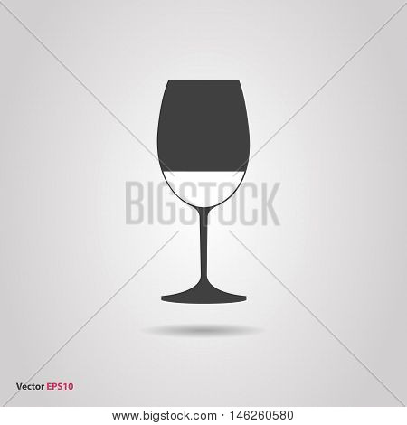 Glass of red cabernet sauvignon wine silhouette icon