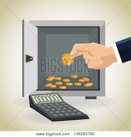 strongbox calculator and coins icon. Money economy commerce and market theme. Isolated design. Vector illustration