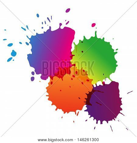 Vector colorful watercolor drops. Paint splatters. Space for text. Ink rainbow splashes. Abstract background.