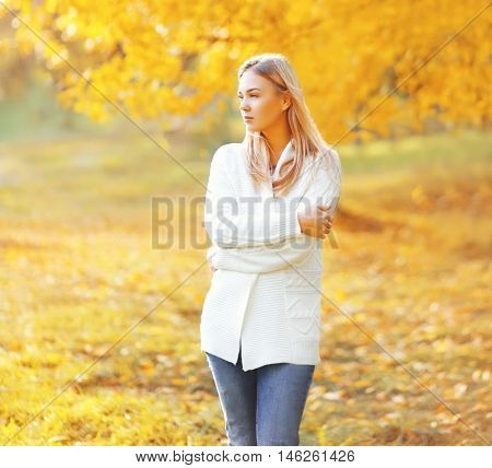 Portrait Of Beautiful Girl Dreaming In Sunny Autumn Day