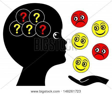 Emotional problem of autistic child. Boy facing difficulties to distinguish smiles from grimaces.