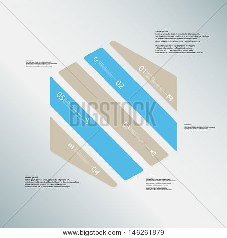Hexagon Illustration Template Consists Of Five Color Parts On Blue Background