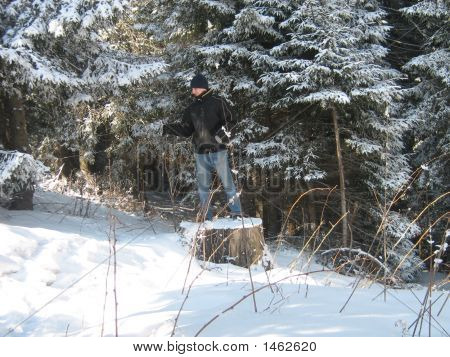 Man In Winter Forest