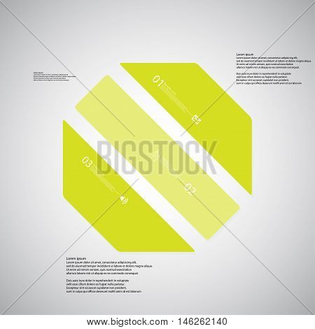 Octagon Illustration Template Consists Of Three Green Parts On Light Background
