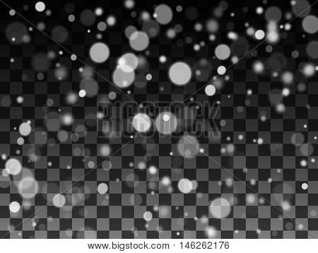 Snow texture, Falling snow on the transparent background, Vector illustration EPS10