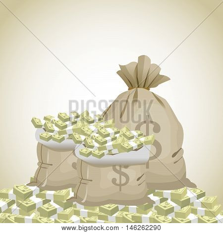 Bag and bills icon. Money economy commerce and market theme. Isolated design. Vector illustration