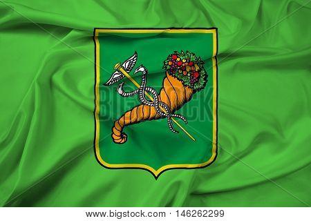 Waving Flag of Kharkiv (Kharkov) Ukraine, with beautiful satin background