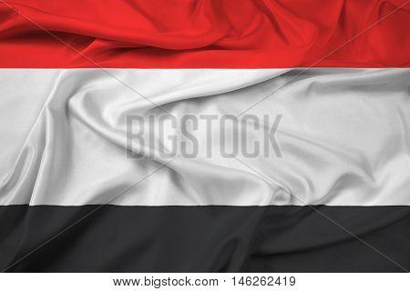 Waving Flag of Kuyavian-Pomeranian Voivodeship Poland, with beautiful satin background