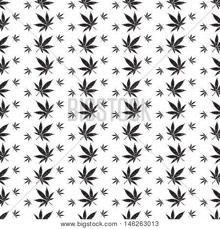 Abstract neutral pattern cannabis. Vector seamless illustration.