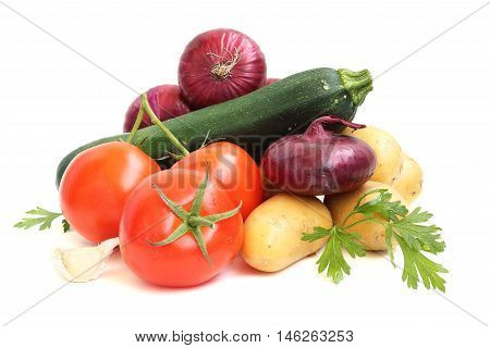 summer still life with fresh vegetables on white background