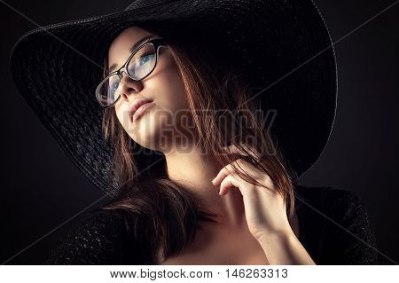 beautiful Mixed Race Korean Russian girl with glasses and fashion hat