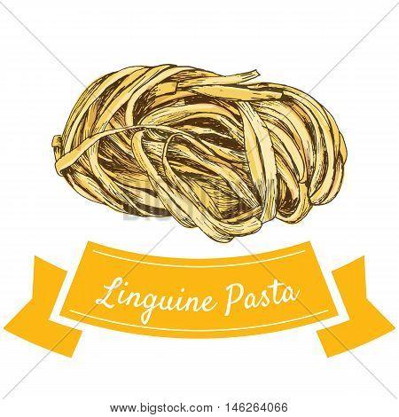 Linguine pasta colorful illustration. Vector illustration of Linguine pasta.