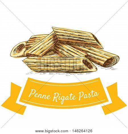 Penne Rigate pasta colorful illustration. Vector illustration of Penne Rigate pasta.