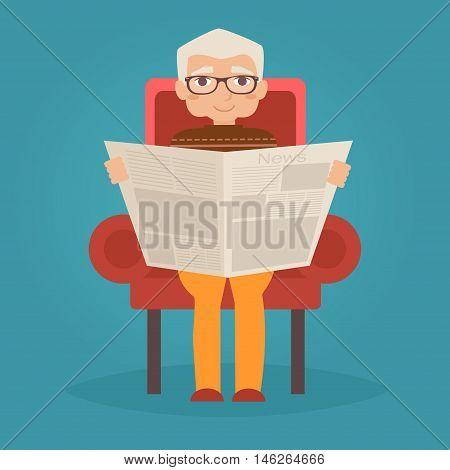 Grandfather reads the newspaper. Vector illustration. Cartoon character. Isolated