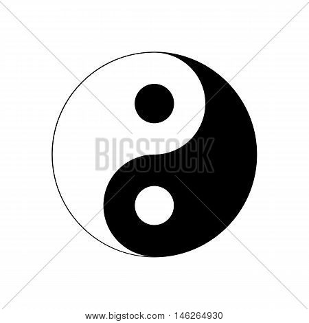 Yin Yang Icon. Religion symbol. Vector illustration. Silhouette vector illustration