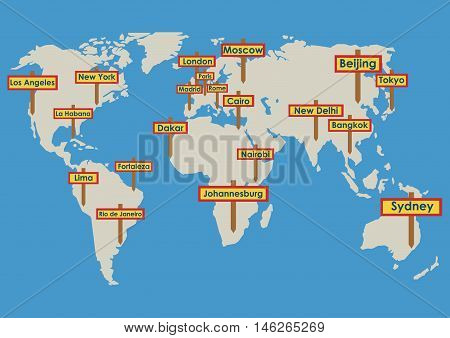 Vector globe with destinations, map with cities