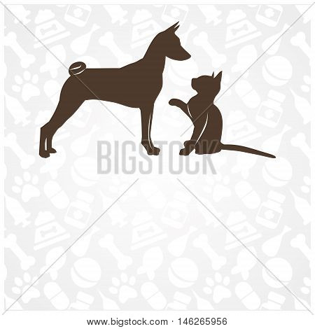 Funny cat and dog in the background pet accessories. vector illustration