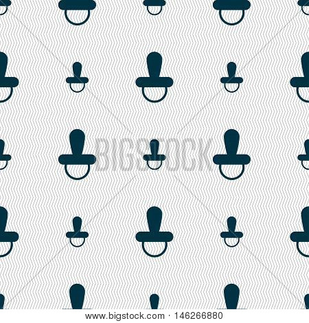 Baby Pacifier Icon Sign. Seamless Pattern With Geometric Texture. Vector