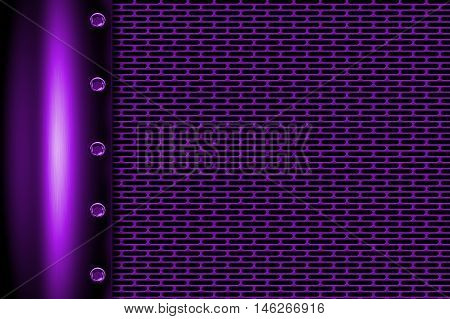 purple metal background with rivet on gray metallic mesh. background and texture 3d illustration.