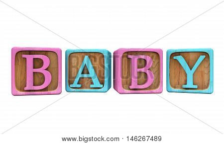 Blue and Pink Baby Blocks isolated on white spelling out the word Baby - 3D Illustration