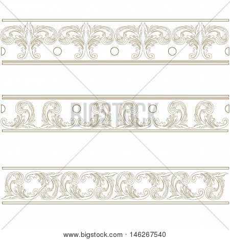 Golden vintage pattern, damask pattern, ornamental pattern, decor pattern, golden lace, damask lace, ornamental lace, pattern lace, decor lace. Vector.