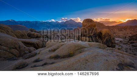 Alabama Hills At Sunset Mt Whitney In The Background