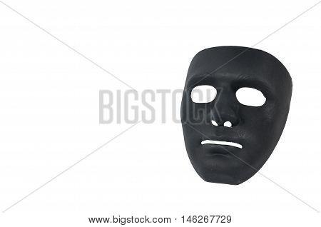 Black masks like human behavior conception on white background