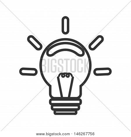 Silhouette shape incandescent bulbs which emit bright light. Symbol ideas design and success. On a white background black lines.