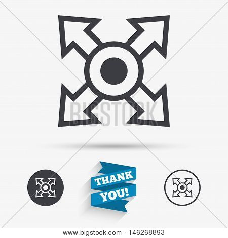 Fullscreen sign icon. Arrows symbol. Icon for App. Flat icons. Buttons with icons. Thank you ribbon. Vector