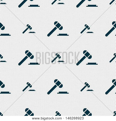 Judge Or Auction Hammer Icon Sign. Seamless Pattern With Geometric Texture. Vector