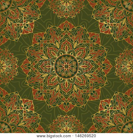 Seamless vector colorful pattern. East ornament with gold contour on a green background. Design of mandalas for textile. Template for carpet.