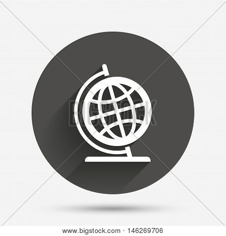 Globe sign icon. Geography symbol. Globe on stand for studying. Circle flat button with shadow. Vector