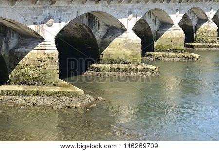 Burgo Bridge in Pontevedra Galicia Spain. Here goes the Portuguese way of Santiago.