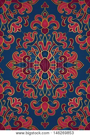 Colorful floral ornament. Template for oriental carpet textile shawl and any surface. Seamless vector pattern of gold contours on a blue background.