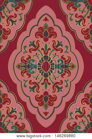 Vintage floral ornament. Templates for carpet shawl wallpaper textile and any surface. Seamless vector pattern of pink and burgundy tones.