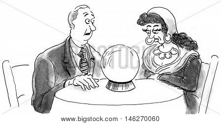 B&W business illustration showing a businessman and a fortune teller looking into a crystal ball.