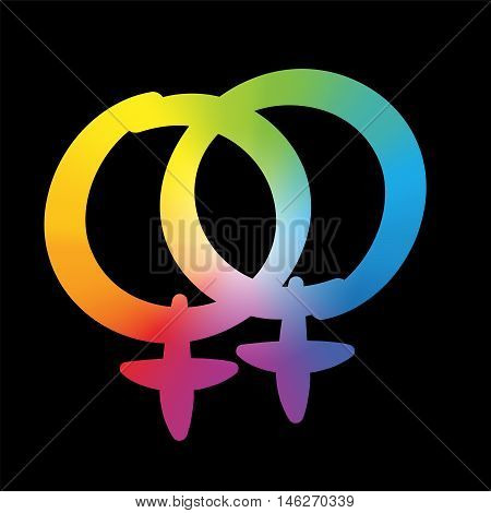 Lesbian love icon - rainbow gradient colored symbol, pleasant rounded typeface on black background.