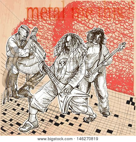 Metal music band. A group of three musicians playing hard rock music. Guitarists and bandura player. Freehand sketching line drawing. An hand drawn vector illustration. Line art technique.