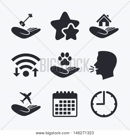 Helping hands icons. Shelter for dogs symbol. Home house or real estate and key signs. Flight trip insurance. Wifi internet, favorite stars, calendar and clock. Talking head. Vector