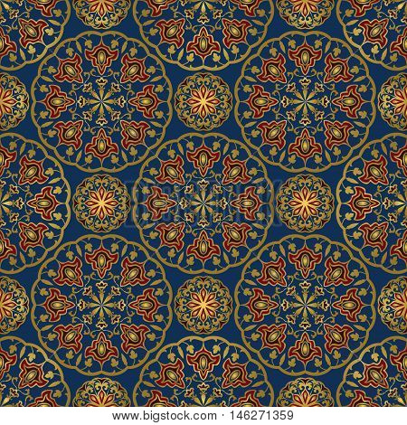 Seamless eastern pattern of mandalas on a blue background. Vector elegance ornament. Design for any surface. Stylized template for carpet.