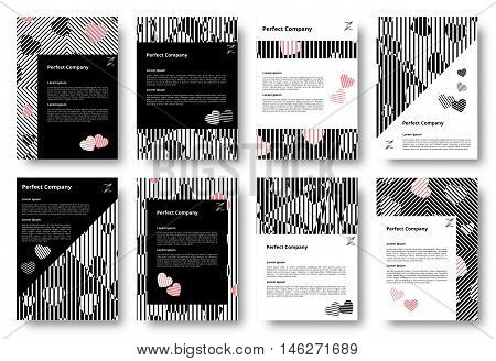 Set of templates with hearts. Chaotic pattern lines. Diagonal stripes backdrop. Chaos design rhombus. Applicable for covers posters flyers and banners. Vector illustration.