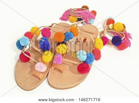 stylish greek leather sandals with pom pom - fashion shoes advertisement