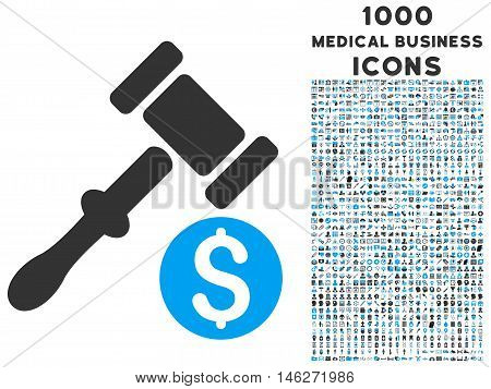Auction vector bicolor icon with 1000 medical business icons. Set style is flat pictograms blue and gray colors white background.