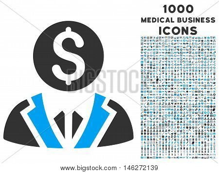 Banker vector bicolor icon with 1000 medical business icons. Set style is flat pictograms blue and gray colors white background.