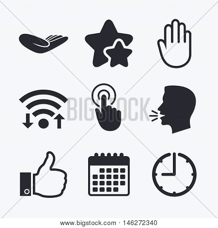 Hand icons. Like thumb up symbol. Click here press sign. Helping donation hand. Wifi internet, favorite stars, calendar and clock. Talking head. Vector