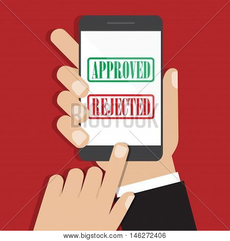 Hand holding smartphone in a flat design. Receiving phone approved. Vector illustration eps10