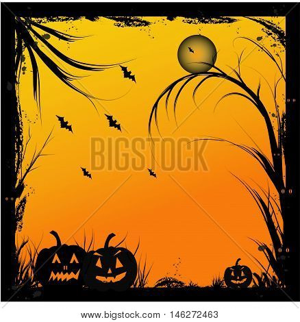 Halloween background with an orange and yellow gradient background with black tree boarder. Images has dead branches, bats, craved pumpkins and a full moon.