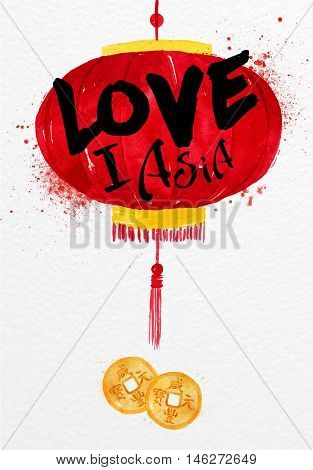 Poster red paper lantern with feng shui asia coin lettering I love asia drawing with drops and splash on watercolor paper background