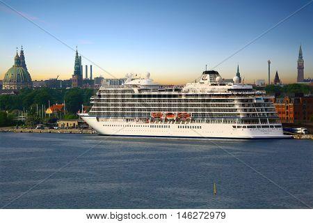 Copenhagen, Denmark - May 24, 2016: Viking cruise ship Viking Star docked at port Copenhagen